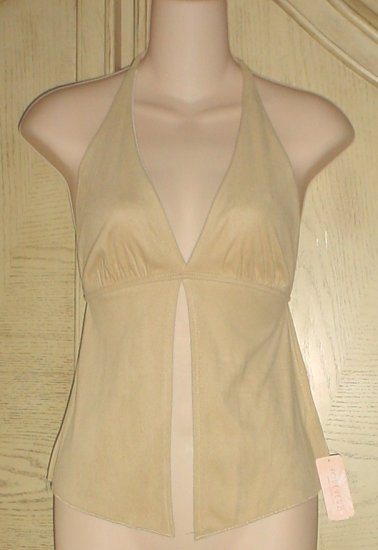 Forever 21 MICROSUEDE HALTER TOP Small GOLDEN TAN