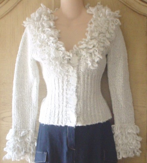LADIES Twiggy FRINGE COLLAR SWEATER Chunky Cardigan SMALL Winter White