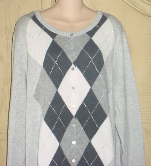 NEW Old Navy ARGYLE CARDIGAN Metallic Button Front Sweater XXL TALL Gray