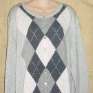 NEW Old Navy ARGYLE CARDIGAN Metallic Button Front Sweater XXL TALL Gray