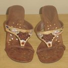 Dollhouse EMBELLISHED HEELS Ladies Slide Sandals 7M Mocha Brown Shoes