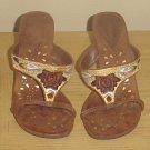 NEW Dollhouse EMBELLISHED HEELS Ladies Slide Sandals SIZE 7 Mocha Brown Shoes