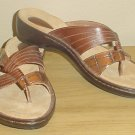 New Ladies CLARKS SANDALS Leather Shoes 11M CHESTNUT BROWN Slides