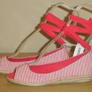 NEW Old Navy ANKLE TIE ESPADRILLES Wedge Sandals 7M RED STRIPE Shoes