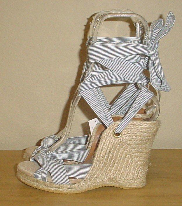 NEW Old Navy ESPADRILLE SANDALS Ankle Tie Platforms 8M NAVY STRIPE Shoes