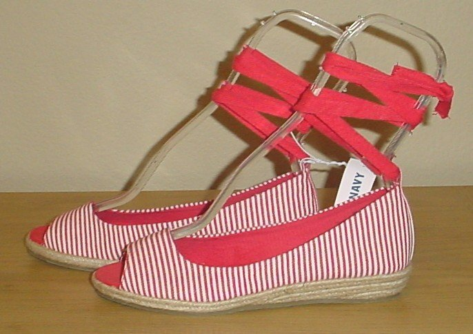 NEW Old Navy ANKLE TIE ESPADRILLES  Wedge Sandals 6M RED STRIPED Shoes