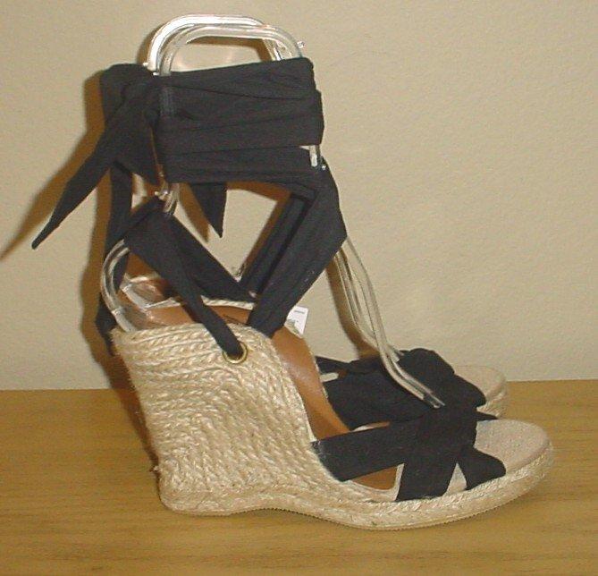 Old Navy PLATFORM ESPADRILLES Sandals SIZE 6 BLACK Ankle Tie Shoes