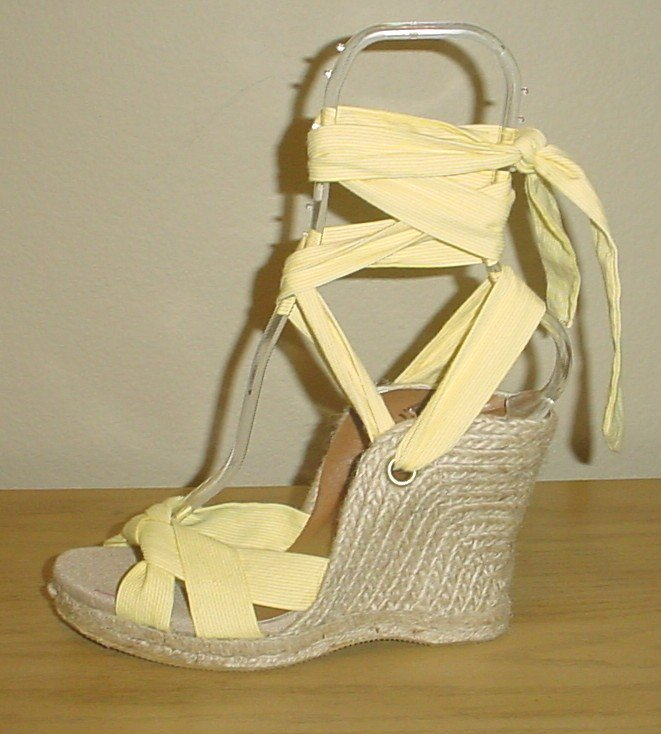 NEW Old Navy PLATFORM ESPADRILLES Ankle Tie Sandals SIZE 6M (36) YELLOW STRIPE Shoes
