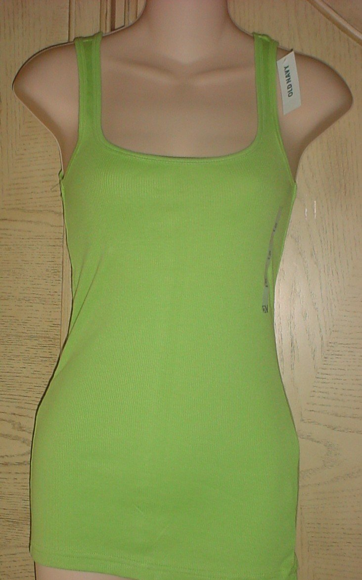 MISSES Old Navy PERFECT TANK TOP Ribbed Tee LIME GREEN Size XL 16/18 Cotton