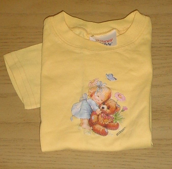 New HANES Toddler TEDDY BEAR TOP Graphic T-Shirt 2T YELLOW Cotton