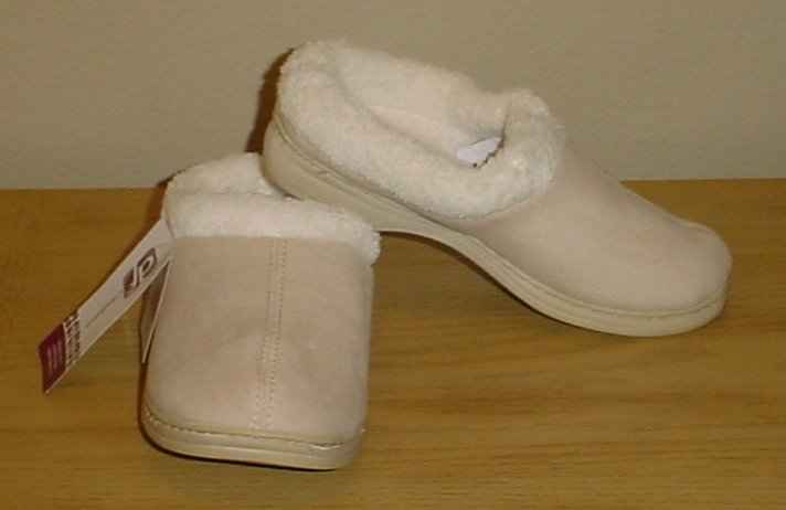 NIB Ladies DEARFOAMS SLIPPERS Plush Memory Foam Size XL 11-12 Indoor/Outdoor CHINO