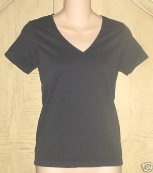 New LADIES metro7 STRETCH KNIT TOP Cinch Front Tee BLACK Large