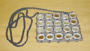 NEW Pierre Urbach SILK BEADED PURSE Evening Bag PEWTER Shoulder Bag/ Crossbody Silk Lined