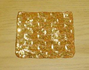 NEW Pierre Urbach SILK SEQUIN PURSE Evening Bag GOLD Silk Lined