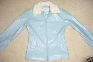 Girls FUR COLLAR COAT Water Resistant Jacket SIZE 4 ICE BLUE zip front,pockets