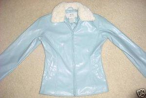 Girls FUR COLLAR COAT Water Resistant Jacket SIZE 4 ICE BLUE zip front,pockets