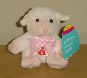 TALKING PLUSH TOY Mini Easter Stuffed Animal BABY LAMB Ivory gift decor