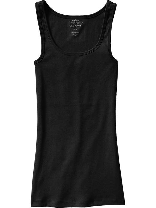 MISSES Old Navy PERFECT TANK TOP Ribbed Tee BLACK Medium 8/10 Cotton
