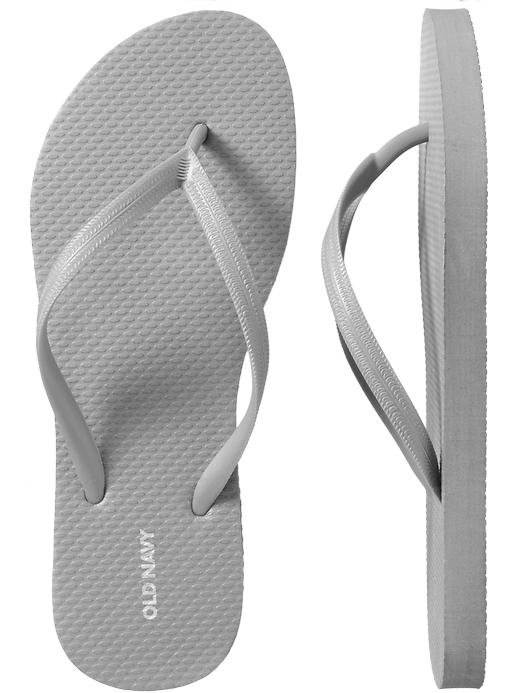 NEW Ladies METALLIC FLIP FLOPS Old Navy Thong Sandals SIZE 7M (37) SILVER Shoes