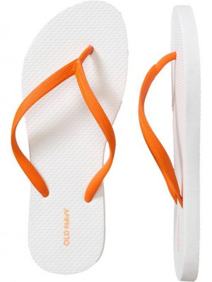 NEW Ladies FLIP FLOPS Old Navy Sandals SIZE 7 ORANGE/WHITE Shoes