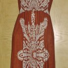 New MAXI DRESS Ladies Boho Stretch Jersey SMALL Brown Print