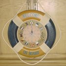 New NAUTICAL WALL CLOCK Life Raft with Maritime Hour Markers HOME DECOR Large BLUE/GOLD