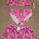 NWT Girls SWIMSUIT 3 Piece Bikini + Cover up XL 14/16 HOT PINK Print