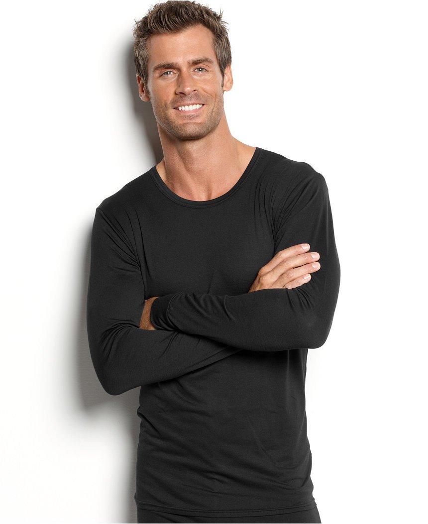NEW Mens WEATHERPROOF TOP 32 Degrees Crewneck Tee BLACK Long Sleeve LARGE