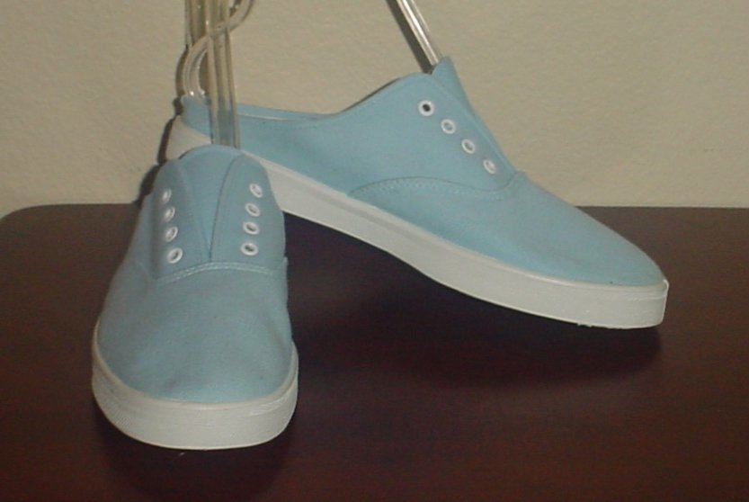 NEW Ladies SNEAKERS Athletic Mules SIZE 11 M BLUE Canvas SHOES