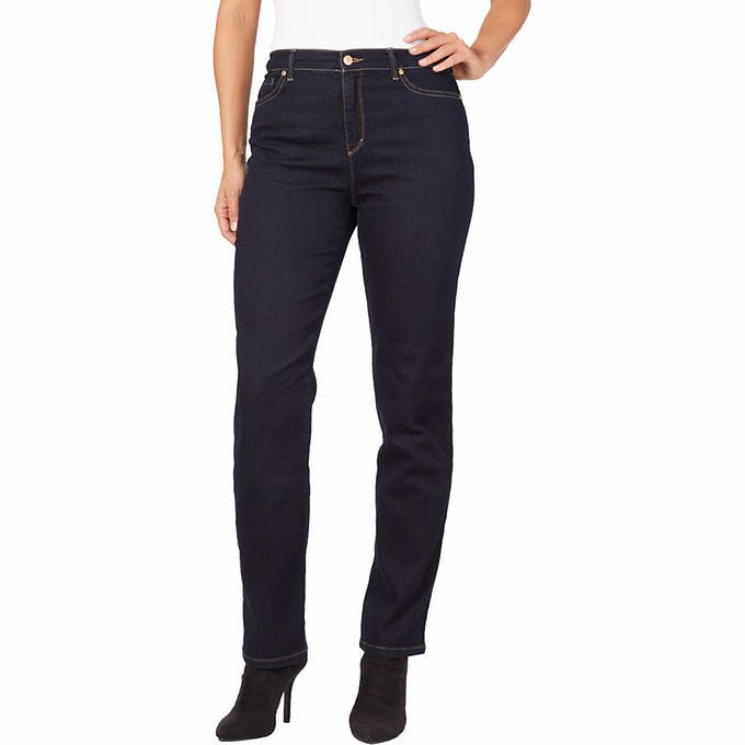 NWT Gloria Vanderbilt JEANS Amanda Stretch Pants SIZE 16 LONG Blue DARK RINSE