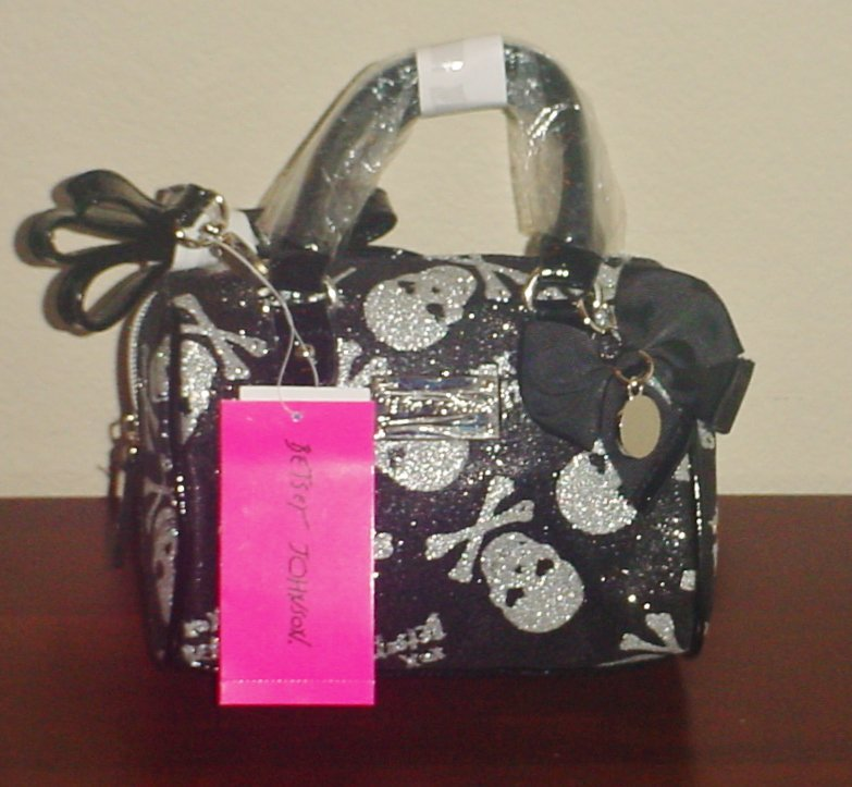 NWT Betsey Johnson PURSE Sparkle Skull mini Speedy Bag BLACK/ SILVER