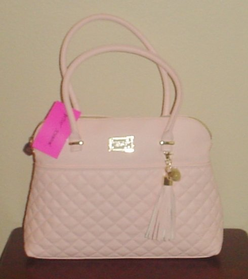 NWT Betsey Johnson PURSE Quilted Large Satchel Bag Tote BLUSH PINK