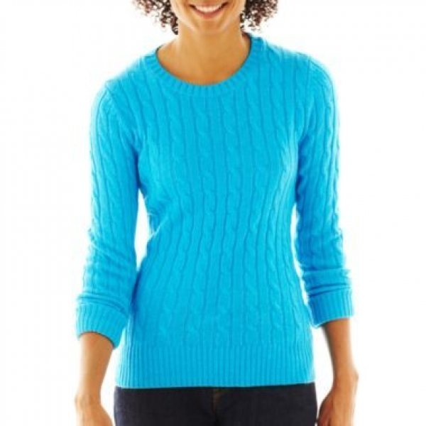 NWT Ladies SWEATER jcp Crew Neck Top XXL (Size 18) TALL Mediterranean BLUE
