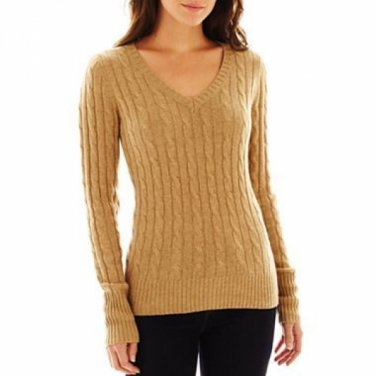 NWT Ladies SWEATER jcp V- Neck Top XXL (Size 18) TALL Camel Tan
