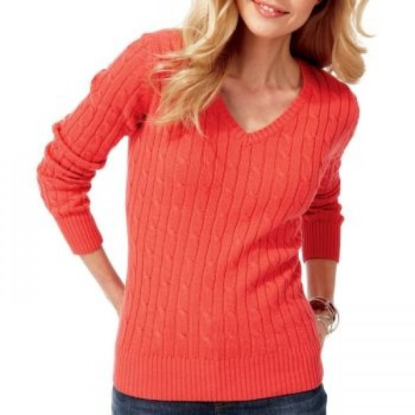 NWT Ladies SWEATER jcp V- Neck Top XXL (Size 18) TALL Coral