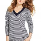NEW Ladies TOMMY HILFIGER TUNIC SWEATER V Neck Pullover Top LARGE Navy/ White Stripe