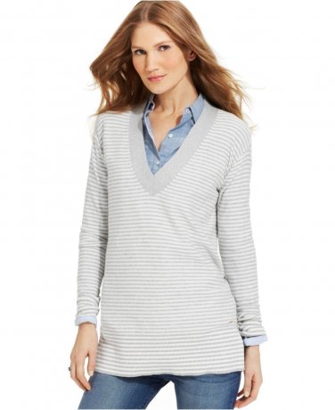 NEW Ladies TOMMY HILFIGER TUNIC SWEATER V Neck Pullover Top XL Gray/ White Stripe