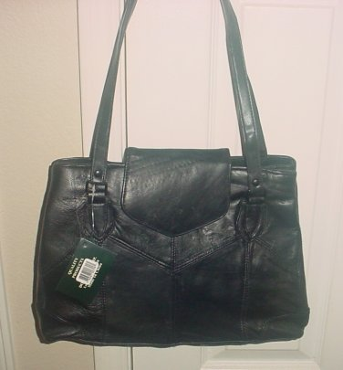 NWT Jade SHOULDERBAG PURSE Genuine Leather BLACK Large 14x10 Satchel Bag