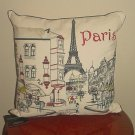 NWT CYNTHIA ROWLEY DECORATIVE PILLOW Paris Scene Embroidered Feather LARGE