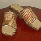 NEW Andre Assou PLATFORM ESPADRILLES Ladies Silk Slides SIZE 10 Multicolor Shoes