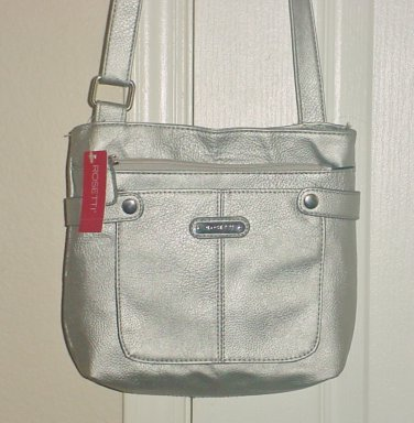 NWT Rosetti METALLIC CROSSBODY PURSE Ladies Shoulder Bag MATTE SILVER