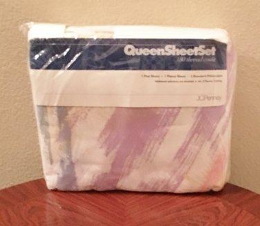 NWT SHEET SET jcp Brushstrokes QUEEN 4 PIECE SET Pastel Print Cotton Blend