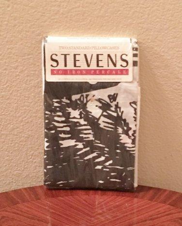 NWT Stevens PILLOWCASES Pack of 2 STANDARD Cotton Blend BLACK/WHITE Print