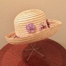 NEW Ladies STRAW HAT Sun Shade NATURAL with Pink, Purple Flowers ONE SIZE