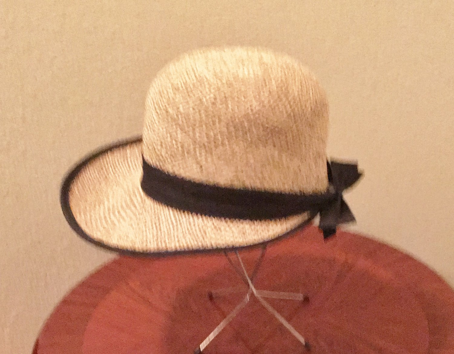 NEW  Ladies STRAW HAT Arlin Sun Shade with Black Bow NATURAL One Size