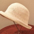 NEW Ladies STRAW HAT Packable Sun Shade BEIGE Roll Brim ONE SIZE Fits All