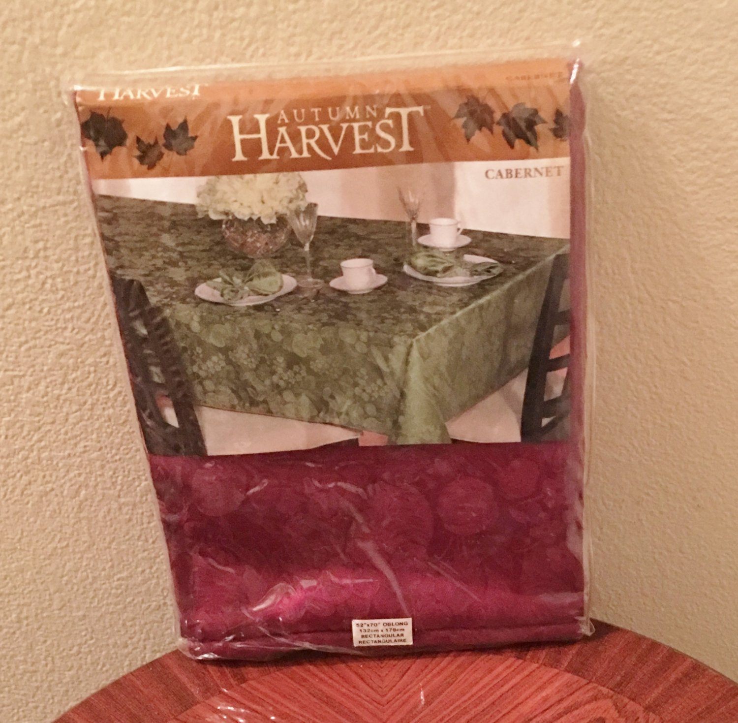New DAMASK TABLECLOTH Autumn Harvest Rectangle 52x70 CABERNET RED Dining Cotton Blend