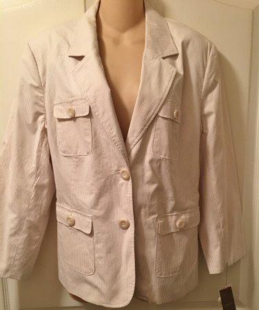 NWT Ladies PINSTRIPE BLAZER Merona Jacket XXL KHAKI/WHITE Fully Lined