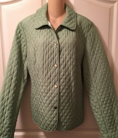 NEW Ladies QUILTED JACKET Briggs New York Size XL MINT GREEN Snap Front Coat