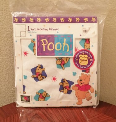 NWT Baby RECEIVING BLANKET WINNIE the POOH  100% Cotton Knit Multicolor